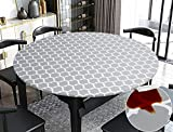 Rally Home Goods Indoor Outdoor Patio Round Fitted Vinyl Tablecloth, Flannel Backing, Elastic Edge, Waterproof Wipeable Plastic Cover, Gray Moroccan Trellis Pattern for 5-Seat Table 36-42'' Diameter