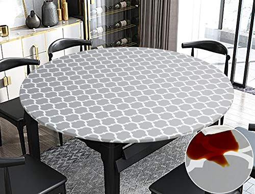 Rally Home Goods Indoor Outdoor Patio Round Fitted Vinyl Tablecloth, Flannel Backing, Elastic Edge, Waterproof Wipeable Plastic Cover, Gray Moroccan Trellis Pattern for 6-Seat Table 43-56'' Diameter