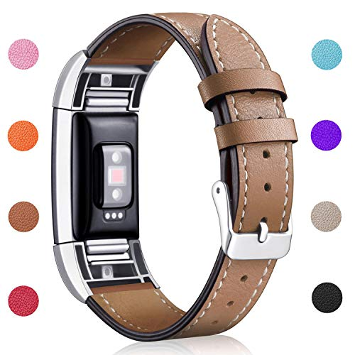 Hotodeal Replacement Leather Band Compatible for Charge 2, Classic Genuine Leather Wristband Metal Connector Watch Bands, Fitness Strap Women Men Small Large (Light Brown- Silver Buckle) 1
