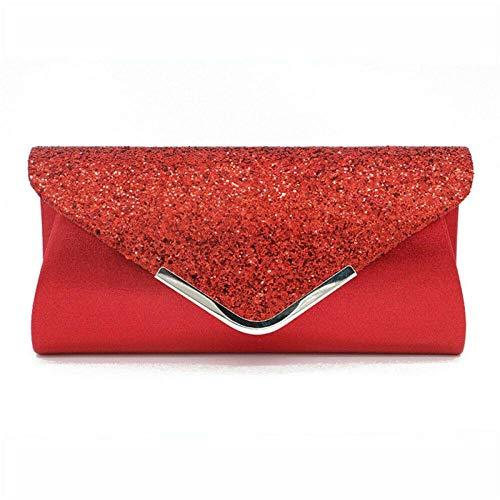 Sac À Main Femmes Glitter Shimmer Envelope Ladies Sequins Soirée Soirée Prom Smart Jane Pochette Sac À Main Rouge