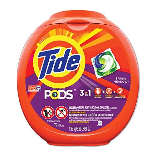 Tide 3-en-1 Pods detergente para lavandería, 64 oz, paquete de 72 cápsulas