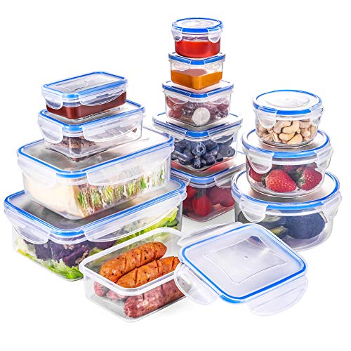 Set di Contenitori per Alimenti, Impilabile 13 Pezzi, Senza BPA e con Coperchio Incluso, Chiusura a Scatto a 4 Pieghe e Guarnizione in Silicone, Adatto per lavastoviglie, Congelatore, Microonde