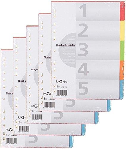 PAGNA KartonRegister, DIN A4, 5teilig, 5farbig 3200020
