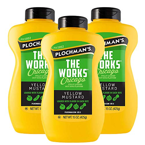 Plochmans The Works Yellow Mustard, with Onion and Relish, 15 Oz Bottle (3 Pack)