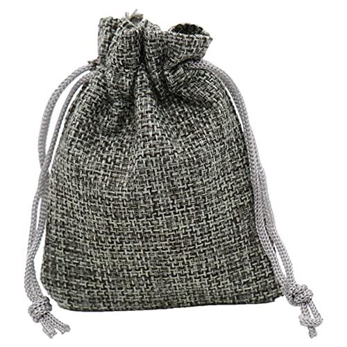 Bolsas De Yute 100 unids / pack vintage cordón joyería joyería bolsa hessian jute arpillera yute boda favor regalo bolsa de regalo fiesta decoración de fiesta ( Color : Gray , Gift Bag Size : 7x9cm )