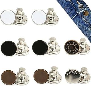 8 Sets 17mm Replacement Jean Buttons, AIMEET No Sew Instant Button Detachable Pants Button Pins, Removable Metal Button to...