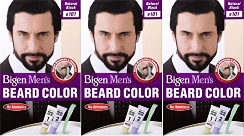 Bigen Mens Beard Colour B101 Natural Black (Pack of 3)