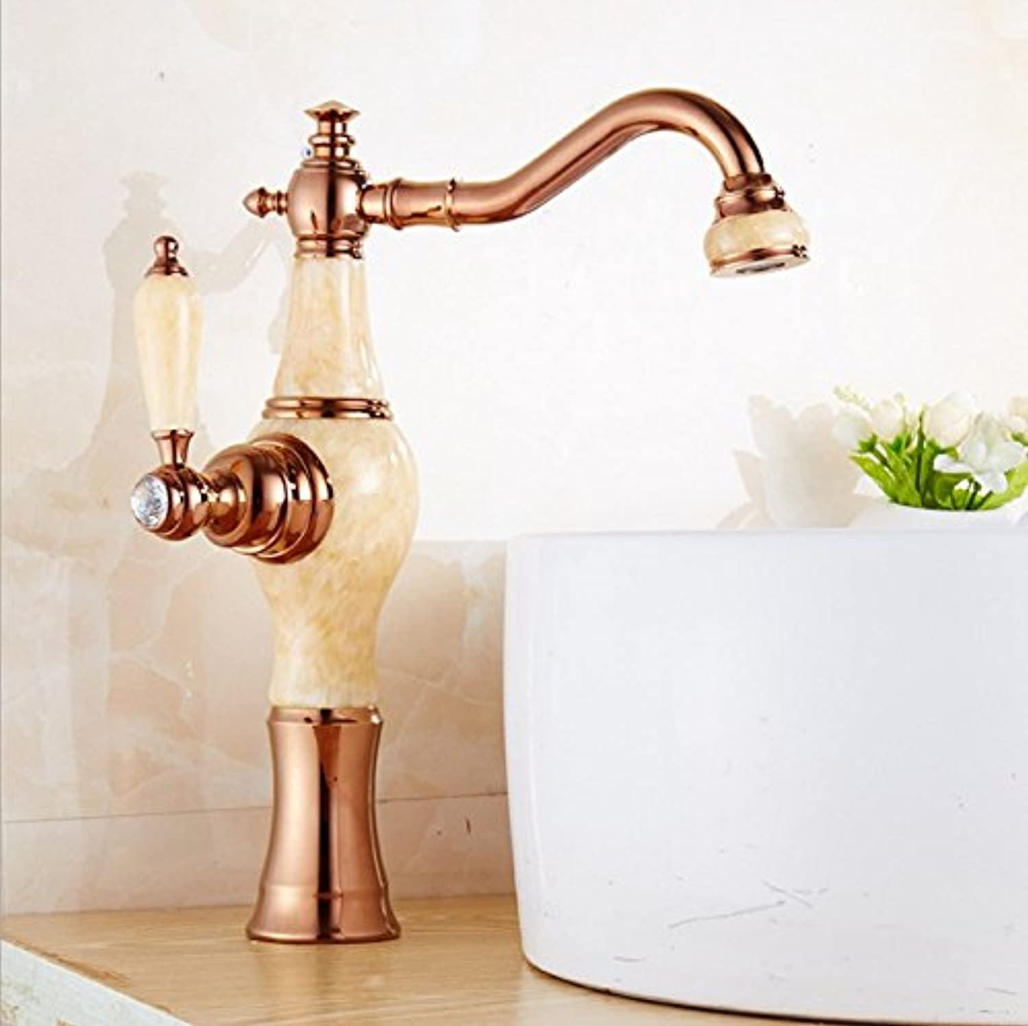 Hlluya Professional Sink Mixer Tap Kitchen Faucet Basin faucet hot and cold marble full copper gold, pink gold Topaz
