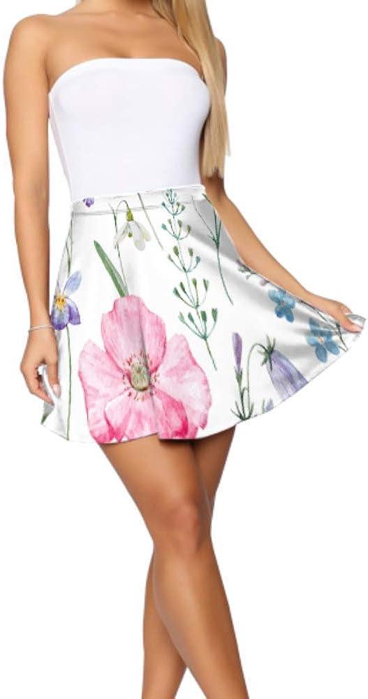Liaosax Flare Skirts for Women Beautiful Pansy Flowers High Waist Mini Skirt Women's Basic Casual Flare Mini Skirt S-XL