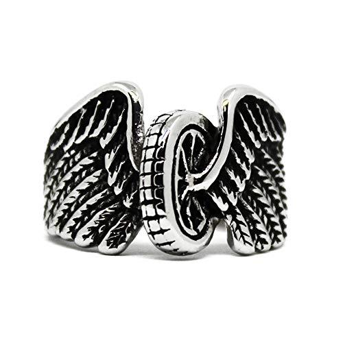 Action Box Jewelry Wings and Wheels Motorcycle Ring, Wings & Wheels Biker Ring, Stainless Steel Biker Ring (14)