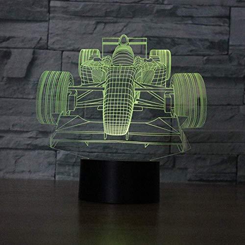 Lámpara de ilusión 3D Luz de noche LED Cambio de color Parpadeante Control de sensor táctil F1 Coche de carreras Acrílico F1 Coche de carreras Lámpara de mesa USB