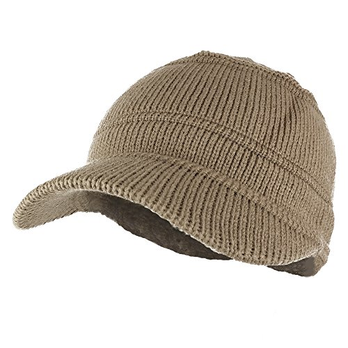 Army Style Acrylic Cadet Winter Beanie Hat with Visor - Taupe