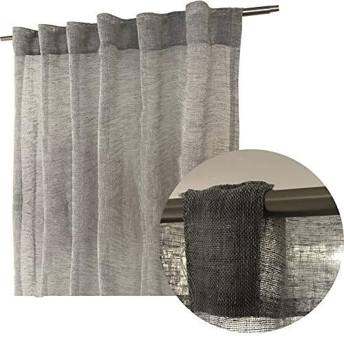 JEMIDI Schlaufenschal Grau transparent LEINEN Look 145cm x 245cm Schal Gardine Vorhang Schlaufen Vorhänge Gardinen