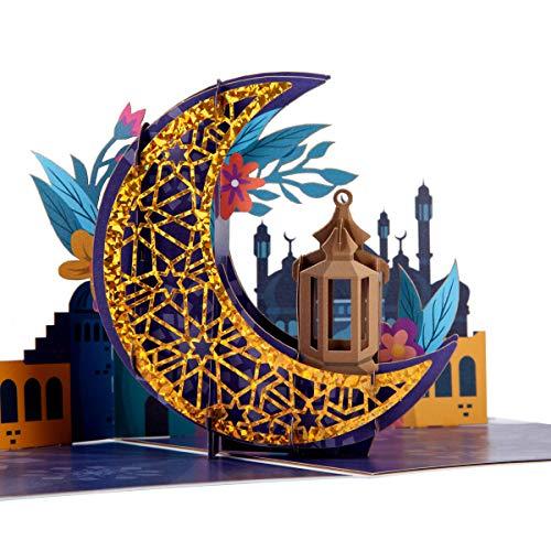 Cardology Eid Mubarak Pop-Up-Karte | Ramadan Mubarak Geschenke, Ramadan Kareem Karten, gesegneter Ramadan, Eid Mubarak Karten und Geschenke für Familie | blanko | handgefertigt | 15 cm x 20 cm