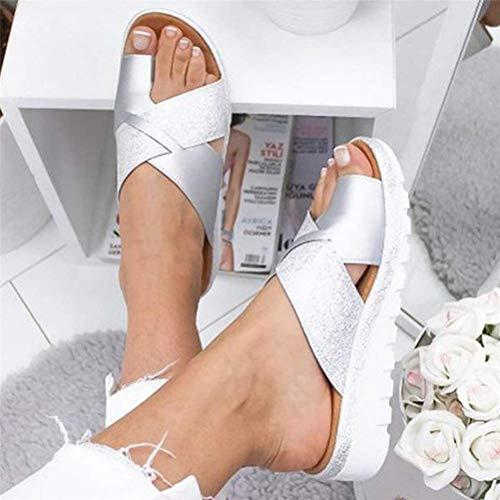 ONEYMM Sandalias de Plataforma para Mujer Sandalias Corrector de Juanetes Zapatos Ortopédicos para La Mujer Zapatos Casuales Antideslizantes para Caminar,Plata,41