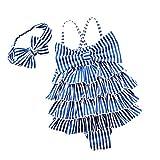 YONKINY Costume da Bagno Bambina Carino Strisce Costume Intero con Bowknot Fascia Capelli Costume Mare Piscina Bimba Beachwear Swimsuit (Blu, 6-7 anni-120)