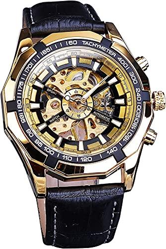 QHG Reloj de Pulsera mecánica del Esqueleto del número de Deporte clásico Cinturón de Cuero Genuino Negro