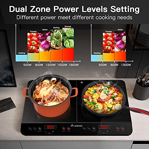 Aobosi Induction Hob, 2800W Portable Double Induction Plate with Sensor Touch Control Black Crystal Glass Plate Surface Multiple Power Levels and 10 Temperature Setting 4-Hour Timer Function