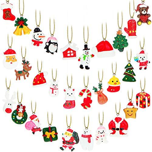 30 Pieces Christmas Ornaments Set Small Resin Miniature Christmas Tree Ornaments Santa Claus Snowman Angels Tiny Christmas Tree Decorations