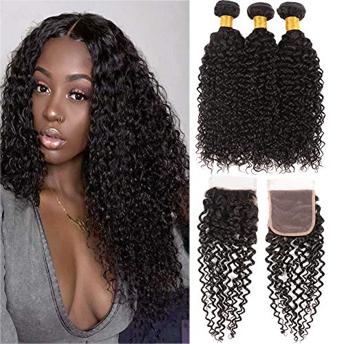 Huarisi Kinky Curly Brazilian Virgin Hair with Closure Free Part Slightly Bleached Knots Human Hair Closure 3 Bundles 100% Unprocessed Brazilian Hair 18 20 22 + 16 Inches
