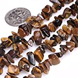 Genuine Tiger Eye Chip Beads 5-8mm Irregular Shaped Tumbled Chips Stone Crystal Loose Bead for Jewelry Making 1 Strand 34'
