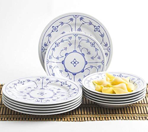 KAHLA 16A141O75019H Blau Saks Geschirrset Porzellan Tafelservice Tellerset für 6 Personen blauweiß rund 12-teilig Suppenteller 22 cm Speiseteller groß 26 cm