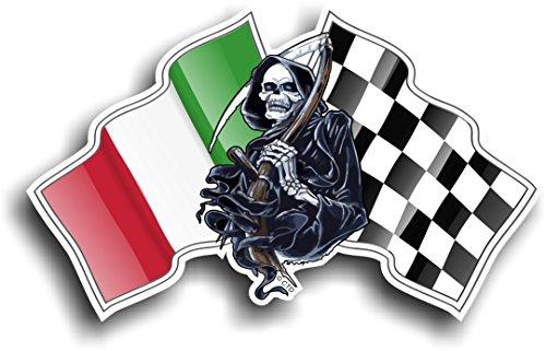 Death Grim Reaper Skull Design mit Racing Italien Italienische IL Tricolore Flagge & Chequred Flagge Neuheit Auto-Aufkleber Vinyl Aufkleber 130x 80mm