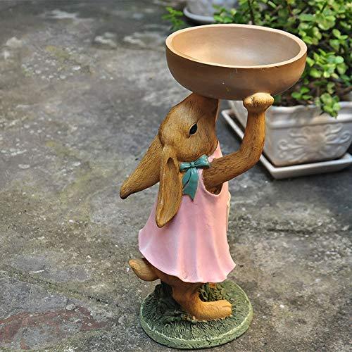 Adornos de jardín Idílico País Bandeja Pintada Conejo Resina Impermeable Estatua de jardín para jardín Paisaje Decoración de césped Regalo - H30cm A