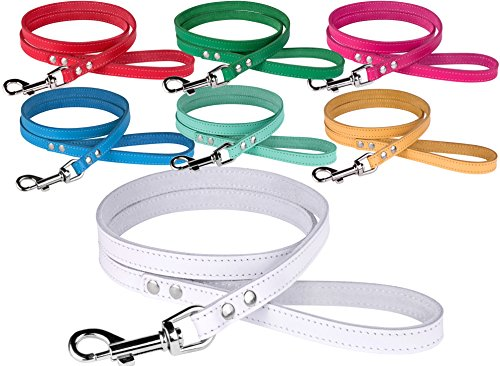 BRONZEDOG Leather Dog Leash 4ft, Heavy Duty Training Leather Dog Lead Puppy Leash Small Medium Large White Pink Red Blue Green Yellow Turquoise (M 4 ft, White)