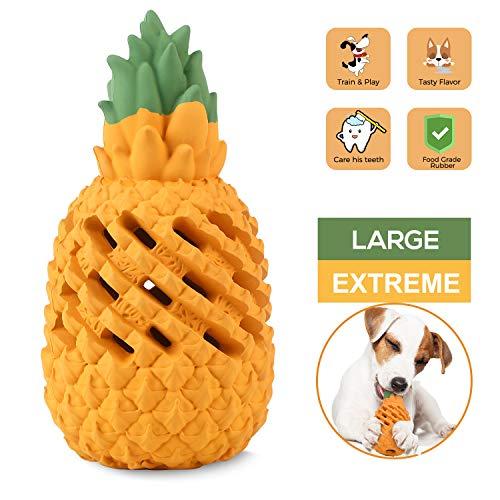 Wenxuan Kauspielzeug für Hunde, Ananas, für aggressive Kauer, unzerstörbar, interaktives Leckerli-Spielzeug für große, mittelgroße und kleine Hunde – Spaß zum Kauen, Jagen und Apportieren, Large