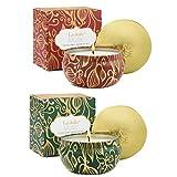 La Jolíe Muse Bougies Noël Bougies Parfumées Coffret Cadeau Lot de 2 Cannelle Citrouille Citron Cèdre Sapin en Cire Bio pour Fête Décor Maison 90 Heures 185g*2
