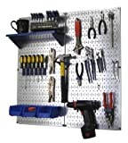 Wall Control Metal Pegboard Organizer Utility Tool Storage and Garage Pegboard Organizer Kit with Metallic Pegboard and Blue Accessories