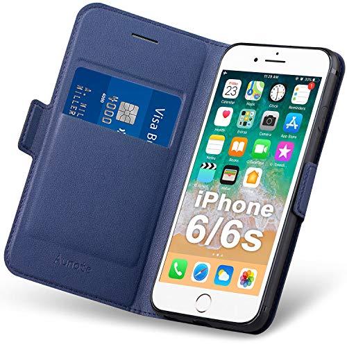 Hülle iPhone 6s, Handyhülle iPhone 6 Klapphülle, iPhone 6 Hülle mit Kartenfach, Schutzhülle iPhone 6s,iPhone 6s Tasche Leder, Etui Folio Flip Phone Cover Case, PU TPU Komplettschutz Apple 6/6s. Blau