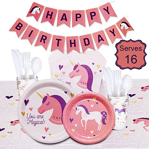 Buy Discount Unicorn party themed set including, unicorn plates, unicorn banner, tablecloth, and cup...