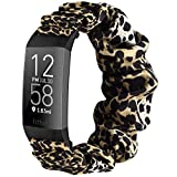 Wanme - Correa para Fitbit Charge 3 / Fitbit Charge 4, correa de tela elástica impresa, correa de tela tejida de repuesto para Fitbit Charge 3/Charge 4 (Leopard, L)