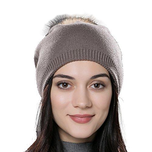URSFUR Unisex Weiche Wolle Mütze Strickmütze Kappen mit Fellbommel aus Fuchspelz -braun