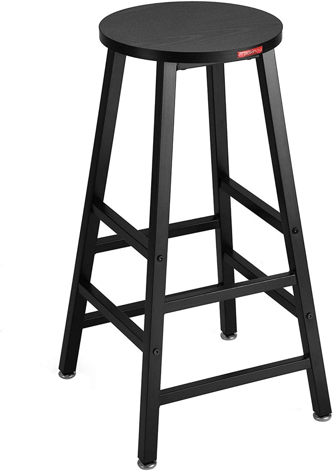 Mr IRONSTONE Bar Stool Black Pub Height Bar Stool, 27.7  Pub Dining Height Stools Bistro Table Chairs Wood Grain