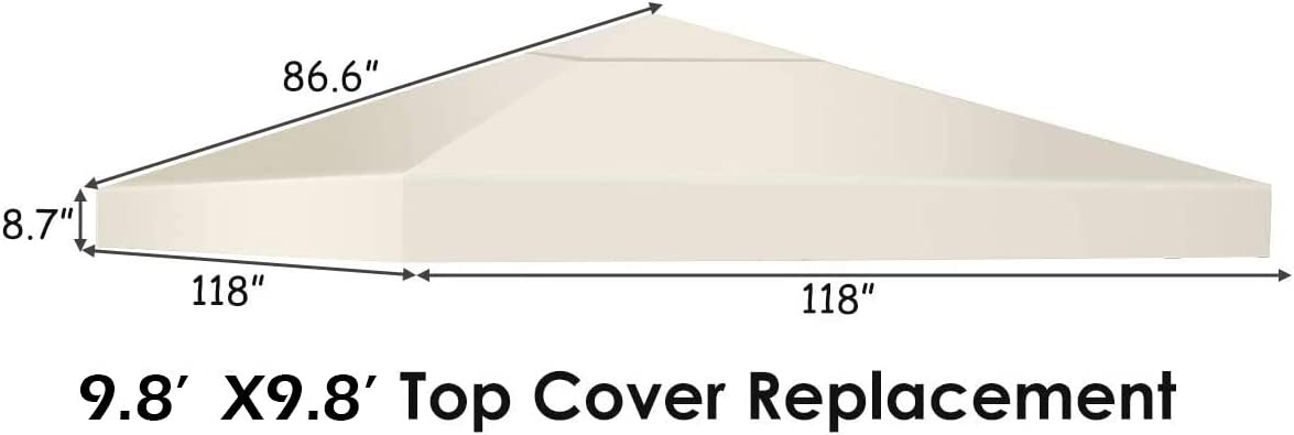 1-Tier, Wine Tangkula 9.8 x 9.8 Canopy Cover Outdoor Patio Gazebo Replacement Top Cover Wedding Party Event Tent Cover Heavy Duty Durable Waterproof Sun Snow Rain Shelter 1-Tier or 2-Tier 3 Color