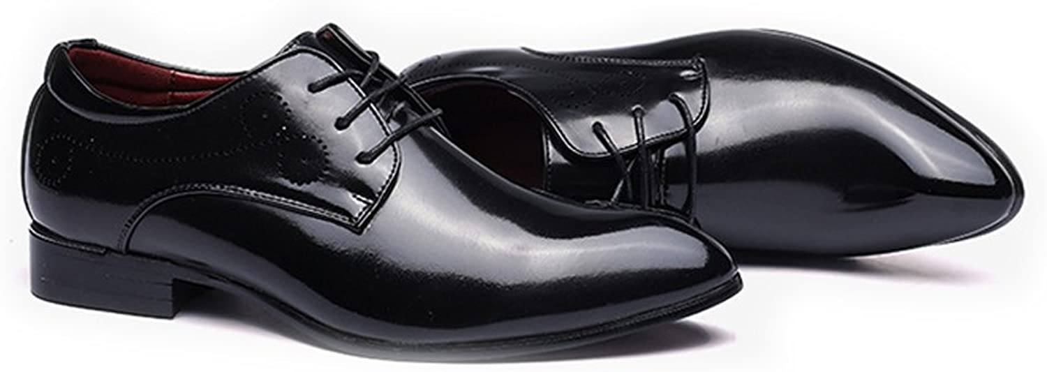 FeiNianJSh Men's Classic Lace Up shoes Smooth Upper PU Leather shoes Pointed Toe Breathable Lined Oxfords