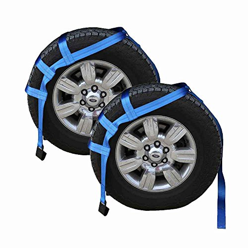 US Cargo Control Extra Large Tow Dolly Basket Strap - Car Dolly Strap with Flat Hook End Fittings - for Wheel Sizes 17 Inches Or Larger - 3,333 Pound Working Load Limit - 2 Pack