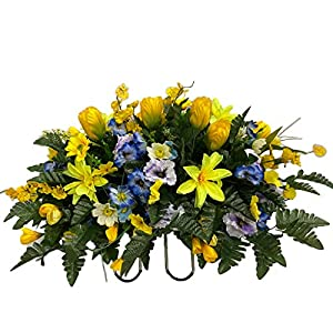 Spring Cemetery Flower Arrangement, Headstone Saddle, Grave, Tombstone Arrangement, Cemetery Flowers R60E