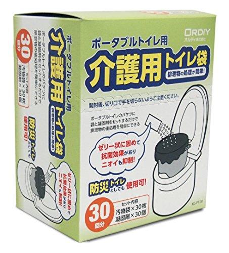 オルディ ポータブルトイレ用 処理袋 30回分 黒 (汚物袋 30枚 凝固剤 30個) 仮設・簡易トイレ 介護 防災用 抗菌効果 臭いも抑制 KG-PT-30