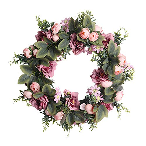 JYS Apparel Valentine's Day Wreath Front Door Decorations,Artificial Simulation Wreath Home Decorations Flowers Venue Layout Props for Home Wall, Window, Staircase,Door Decor, Party Decor (A)