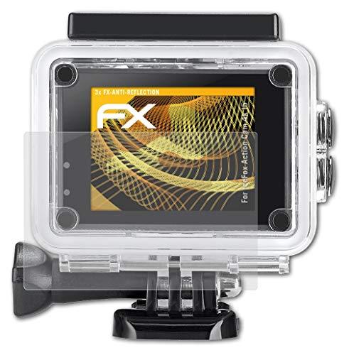 atFoliX Panzerfolie kompatibel mit IceFox Action Cam 4k I5 Schutzfolie, entspiegelnde und stoßdämpfende FX Folie (3X)