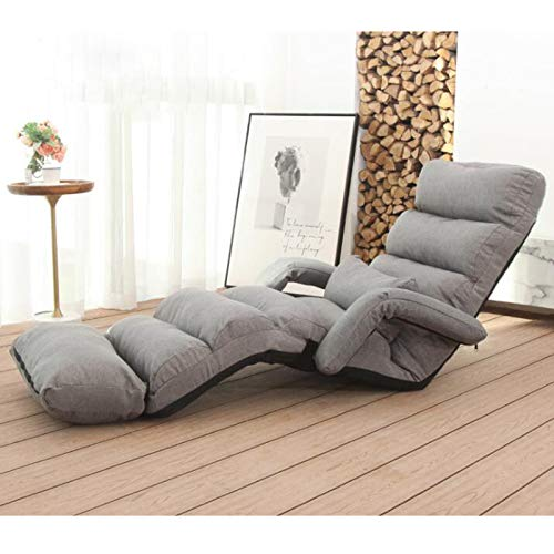 Xin Hai Yuan Extra Long Lazy Bean Bag Sofa Tatami Folding Recliner Chair Creative Leisure Sofa Folding Easy Space Saving&Easy Carry 6 Colors,Gray