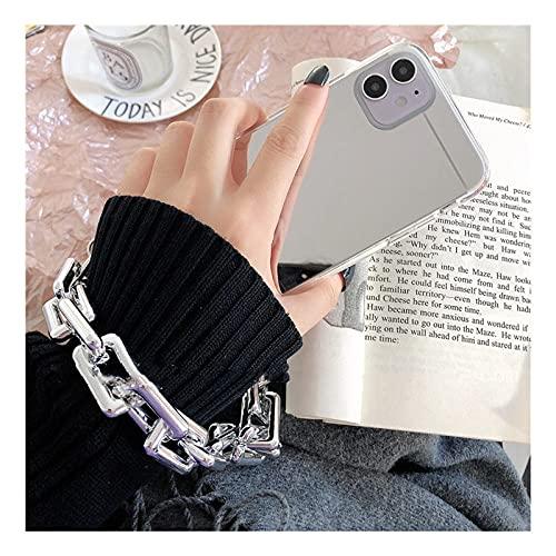 DEIOKL Funda de teléfono Suave con Pulsera de Espejo para iPhone 12 Pro MAX 12MiNi 11 Pro MAX X XR XS 7 8 6S Plus SE 2020 Funda Fresca, Plateada, para iPhone 6 6s