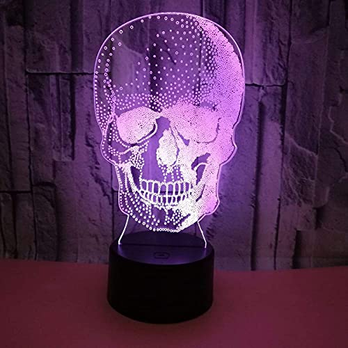 Yyhmkb3D Night Light Halloween Skull Skeleton Led Lámpara de ilusión óptica, Lámpara de atmósfera, Luces de colores, Regalo para niños, Lámpara cálida, Regalo para niño,