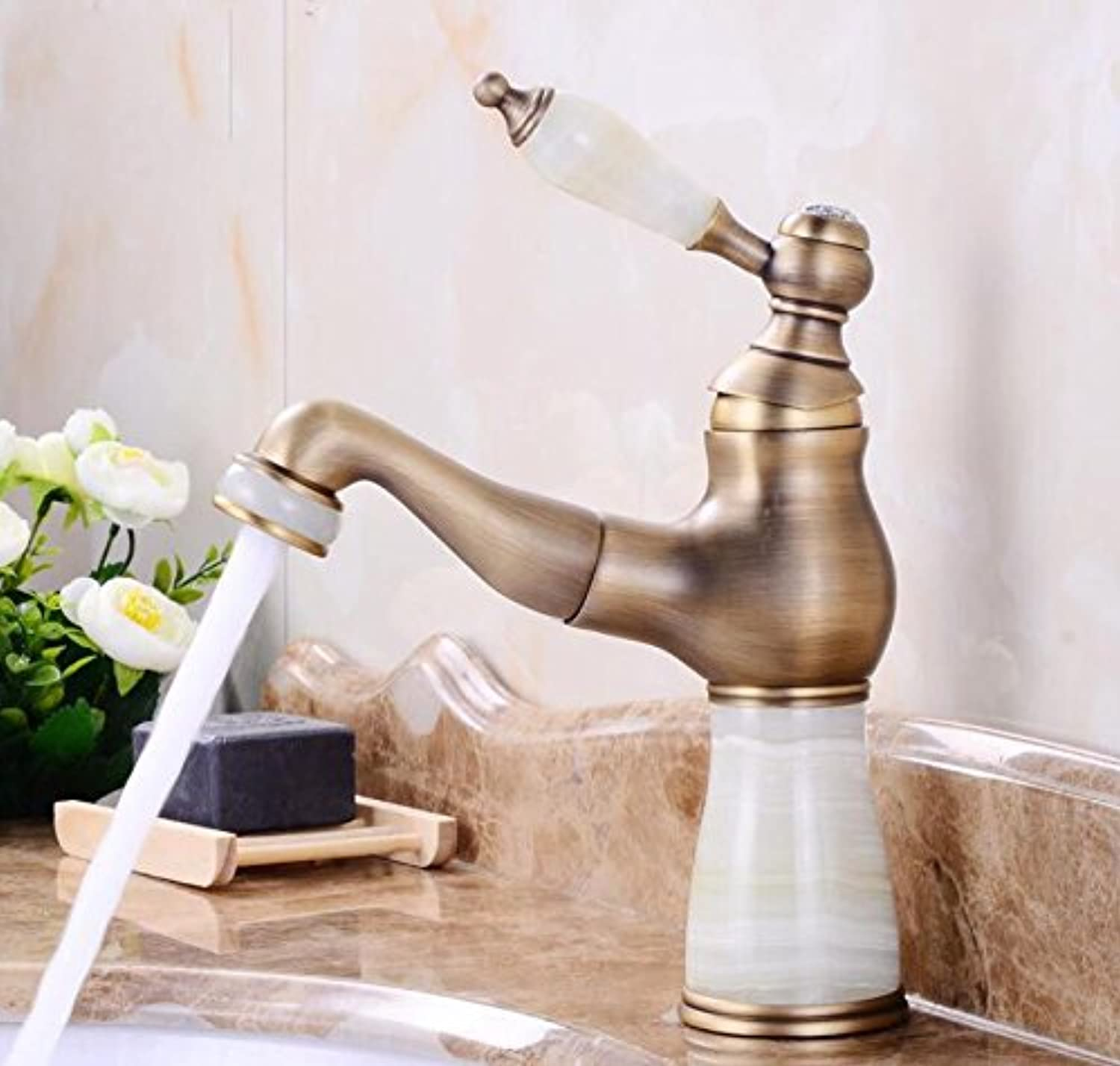 Makej European-Style Natural Jade Faucet Brass Bathroom Pull Out Hot and Cold Mixet Tap Mounted Faucet