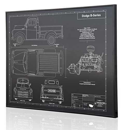 Dodge 1948 PilotHouse Pickup Blueprint Artwork-Laser Marked & Personalized-The Perfect Dodge Gifts