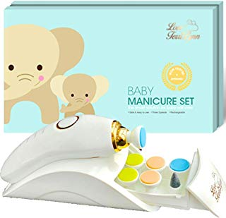 Baby Nail Trimmer by Love TerriLynn Baby Nail File Electric - Rechargeable Electric Nail Clipper - Newborn Manicure Kit - Infant Fingernail and Toenail Trimmer - Electric Nail File Set
